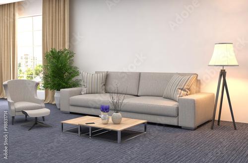 Fototapeta interior with sofa. 3d illustration obraz na płótnie