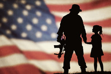 American Soldier Silhouette With Beautiful American Flag