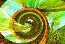 Colorful Green Spiral Unusual Background