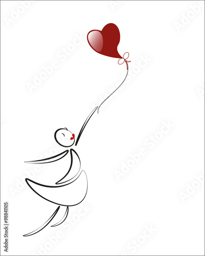 Fotomural lover girl with red heart balloon, cartoon, illustration