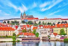 View Of Prague Castle From Waterfront  Vltava River In Prague.Cz