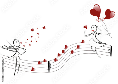 Fototapeta boy plays the violin, hearts notes, girl with red hearts baloons