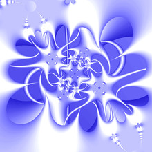Blue Plastic Frozen Glass Ice On White Winter Ornament. Tracery Pattern. High Resolution Abstract Fractal Computer Generated Detailed Image