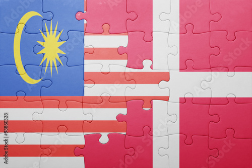 Photo  puzzle with the national flag of malaysia and denmark