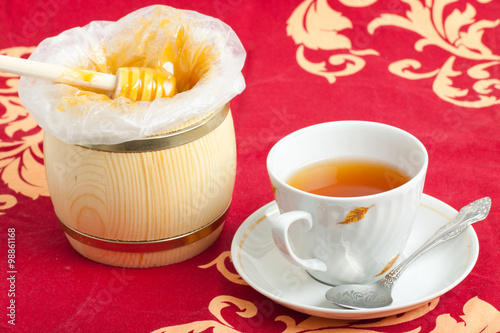 cup of black tea and honey Poster