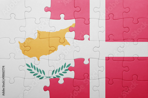 Photo  puzzle with the national flag of cyprus and denmark