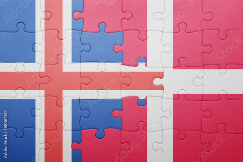 Photo  puzzle with the national flag of iceland and denmark