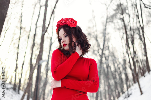 Fotografie, Obraz  Snow white in red dress in winter forest