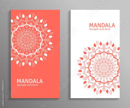Fototapeta Greeting Invitation Card Flyer In Light Colors With Mandala Ornament Vector Ornamental Mandala Stylish Geometric Pattern In Oriental