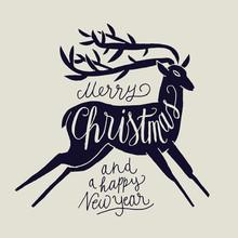 Merry Christmas Deer Handwriting. Jumping Deer Calligraphy Label.