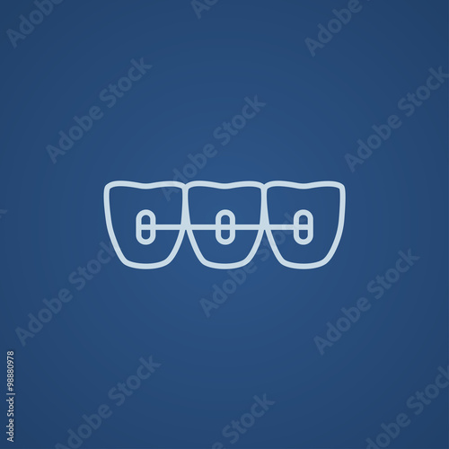 Fotografia  Orthodontic braces line icon.