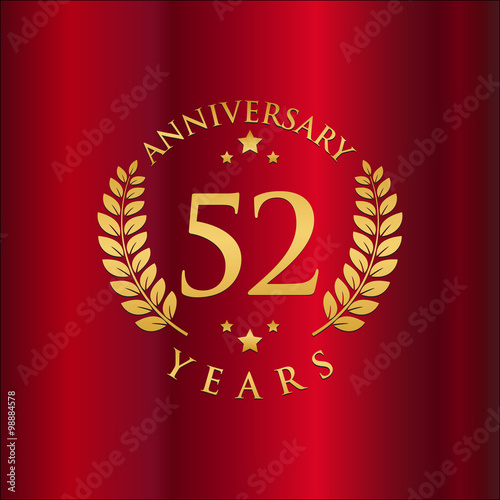 Poster  Wreath Anniversary Gold Logo Vector in Red Background 52
