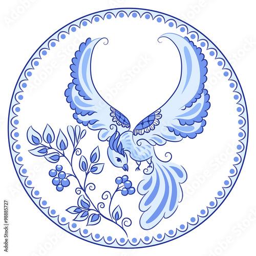 Fototapeta na wymiar The magical bird in the style of Gzhel