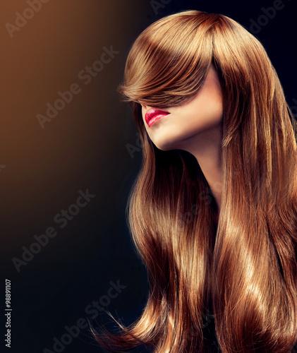 Obraz na plátně  Beautiful model girl  with long  curly hair