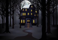 Haunted House In Foggy Forest ...