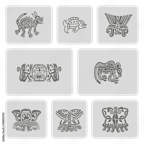Photo Stands Owls cartoon set of monochrome icons with American Indians relics dingbats characters for your design
