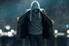 Man Walks Through The Rain