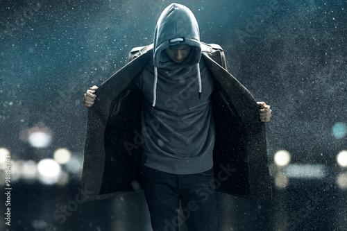 Fotografie, Obraz  Man walks through the rain