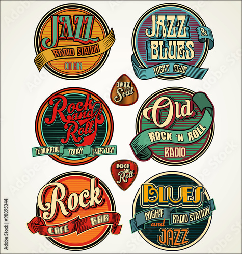 Obraz Rock, jazz and blues retro vintage badges and labels collection - fototapety do salonu