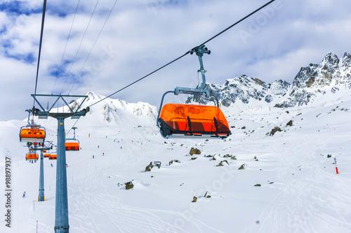 Fotografie, Obraz  Chair-lift, Ischgl, Austria.