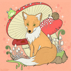Plakat adorable fox coloring page