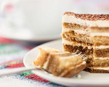 Tiramisu Cake With Cup Of Coffee