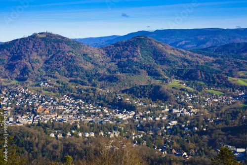 Valokuvatapetti Overlooking the valley of Baden Baden with the Merkur mountain a
