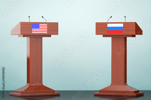 Fotografía  Wooden Podium Tribune Rostrum Stands with USA and Russian flags