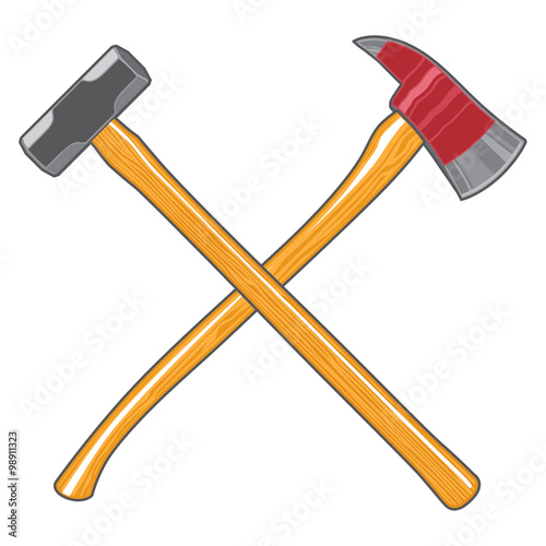 Photo Firefighter Ax and Sledge Hammer is an illustration of a crossed firefighter or fireman's ax and a sledge hammer