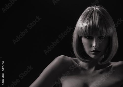 Printed kitchen splashbacks Artist KB Alluring woman with a trendy coiffure