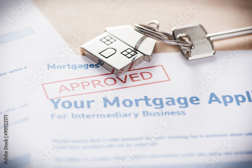 Obraz Approved mortgage loan agreement application - fototapety do salonu