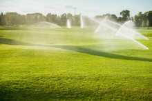 Green Golf Courses Watered Special Devices