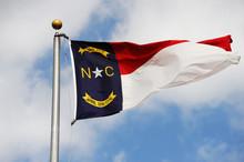 North Carolina State Flag Waving In The Wind