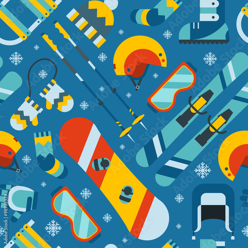 Cotton fabric Winter Sports and Activity Seamless Pattern Background