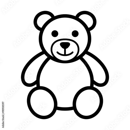 Fotografie, Tablou  Teddy bear plush toy line art icon for apps and websites