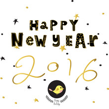 Light Black Yellow Gold Happy New Year With Star Bird And Wreath
