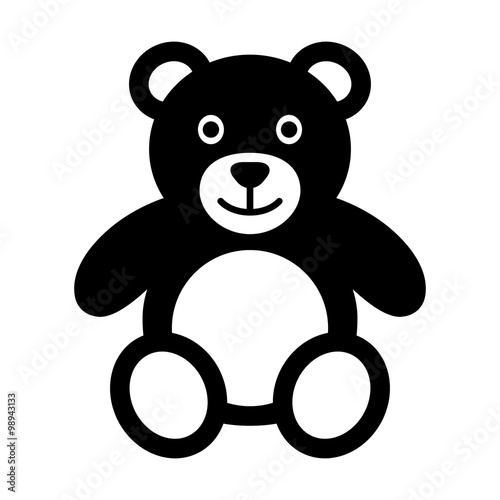 Teddy bear plush toy flat icon for apps and websites  #98943133