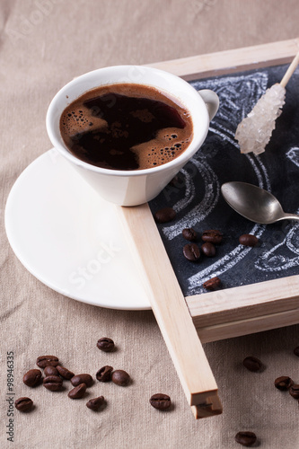 Printed kitchen splashbacks Chocolate Chalkboard with cup of coffee