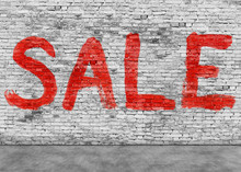 Sale Word Painted On White Wall