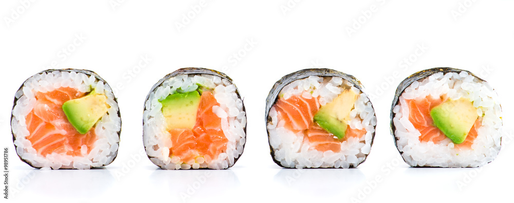 Fototapety, obrazy: close-up of traditional fresh japanese seafood sushi rolls on a