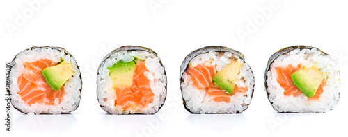 Fototapeta close-up of traditional fresh japanese seafood sushi rolls on a obraz