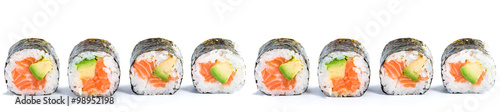 Stickers pour porte Sushi bar close-up of traditional fresh japanese seafood sushi rolls on a