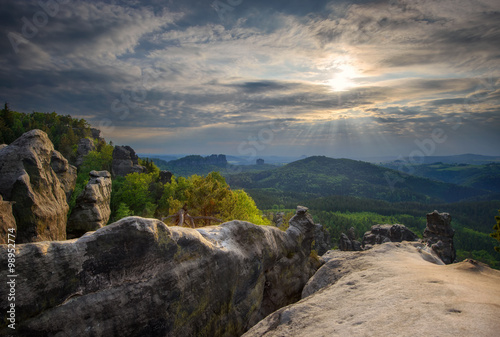 Sunset at Bohemian Switzerland forest, Czech republic Tablou Canvas