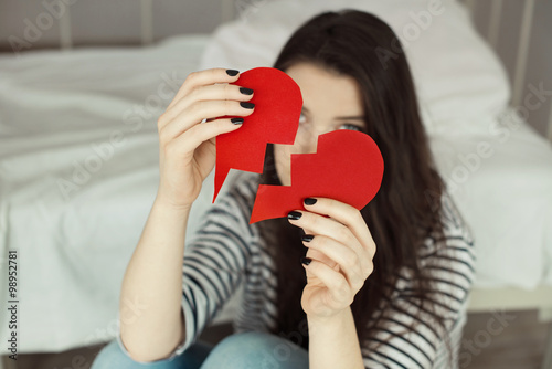 Sad Girl Holding Broken Heart Card Buy This Stock Photo And