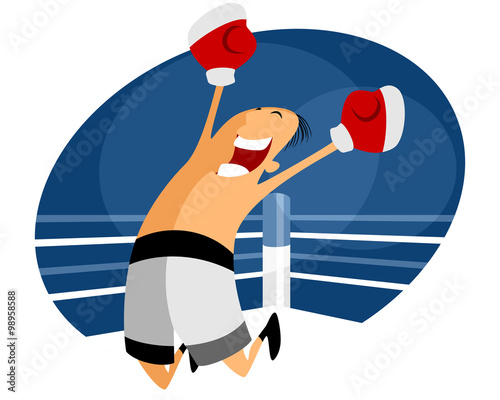 Jumping boxer in white shorts - 98958588