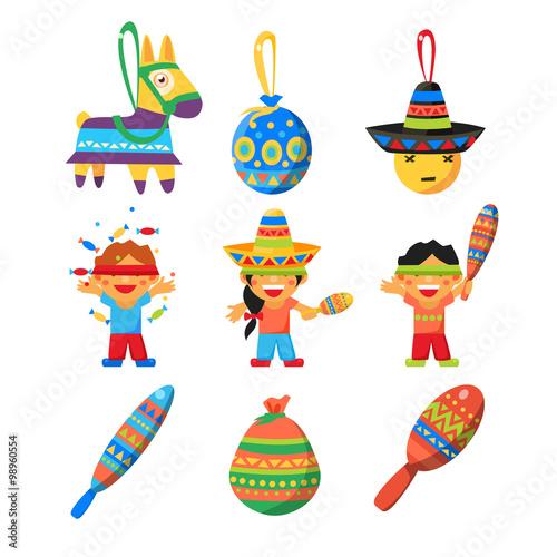 Fotobehang Indiërs Colourful Indian Set. Childish Vector Illustration