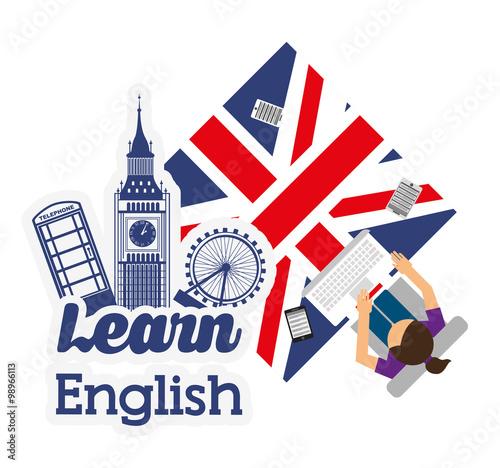 Fotografie, Obraz  learn english design