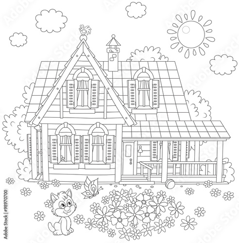 Photo  Vector black and white illustration of a country house, a flowerbed and a small