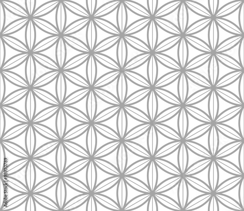 Flower of Life Geometric seamless pattern in asian style. Traditional vector seamless pattern. Sacred
