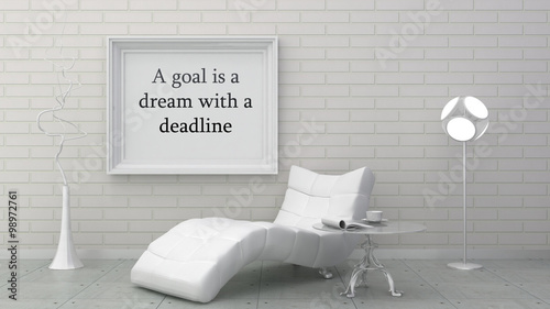 Fotografie, Obraz  Motivation words  goal is a dream with a deadline, inspiration quote
